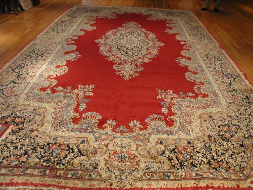 Red And Navy Kerman Antique Persian Rug