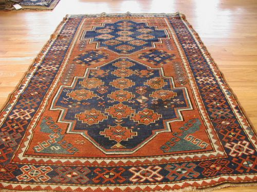 Navy And Ivory Lesghistan Antique Caucasian Rug