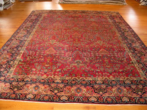 Red And Pink Kerman Antique Persian Rug